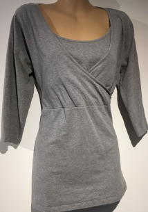 BLOOMING MARVELLOUS GREY 3/4 SLEEVE TUNIC TOP SIZE M 12